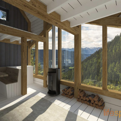 NIBAC oak frame cabin interior | Life Space Cabins