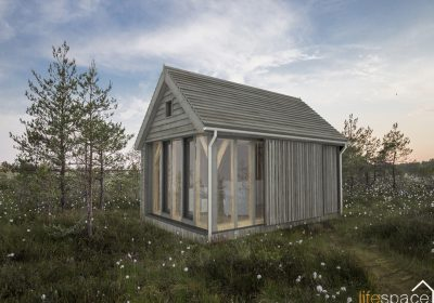 Oak Frame Cabin External image in garden or field | Life Space Cabins