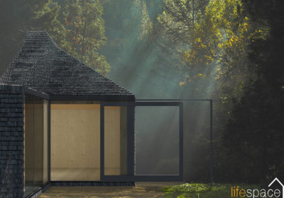 The Wistmans Oak Frame Cabin is a modern take on a woodland den or shepherds hut | Life Space Cabins