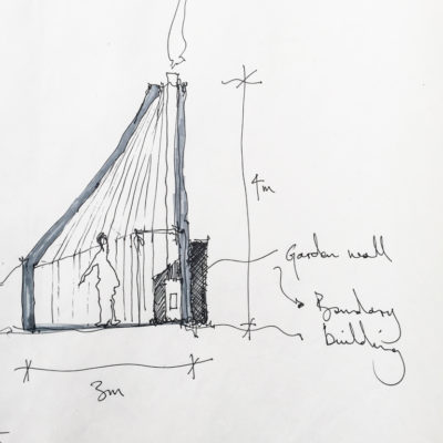 A section sketch showing the roof and chimney interaction| Life Space Cabins