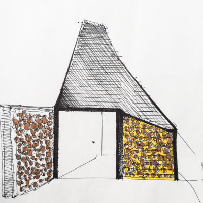 A concept sketch showing using a log store as a privacy screen on the Wistmans Cabin by Life Space Cabins