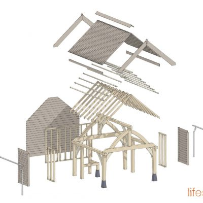 An exploded drawing of the alfresco dining oak frame eating area |Life Space Cabins