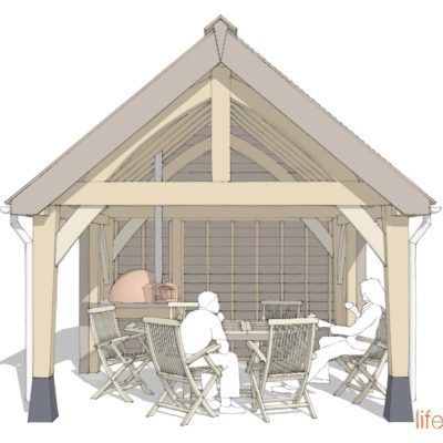 Alfresco Dining and kitchen oak frame drawing of the outdoor eating area |Life Space Cabins