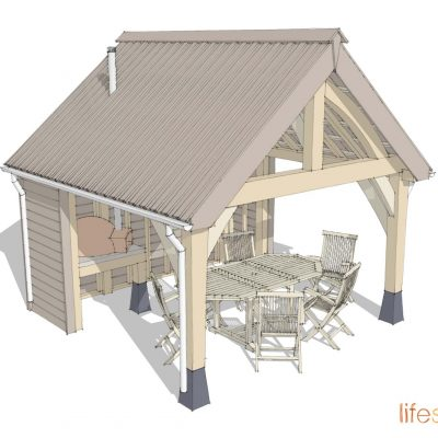 Oak Frame Alfresco outdoor eating area oak frame shelter |Life Space Cabins