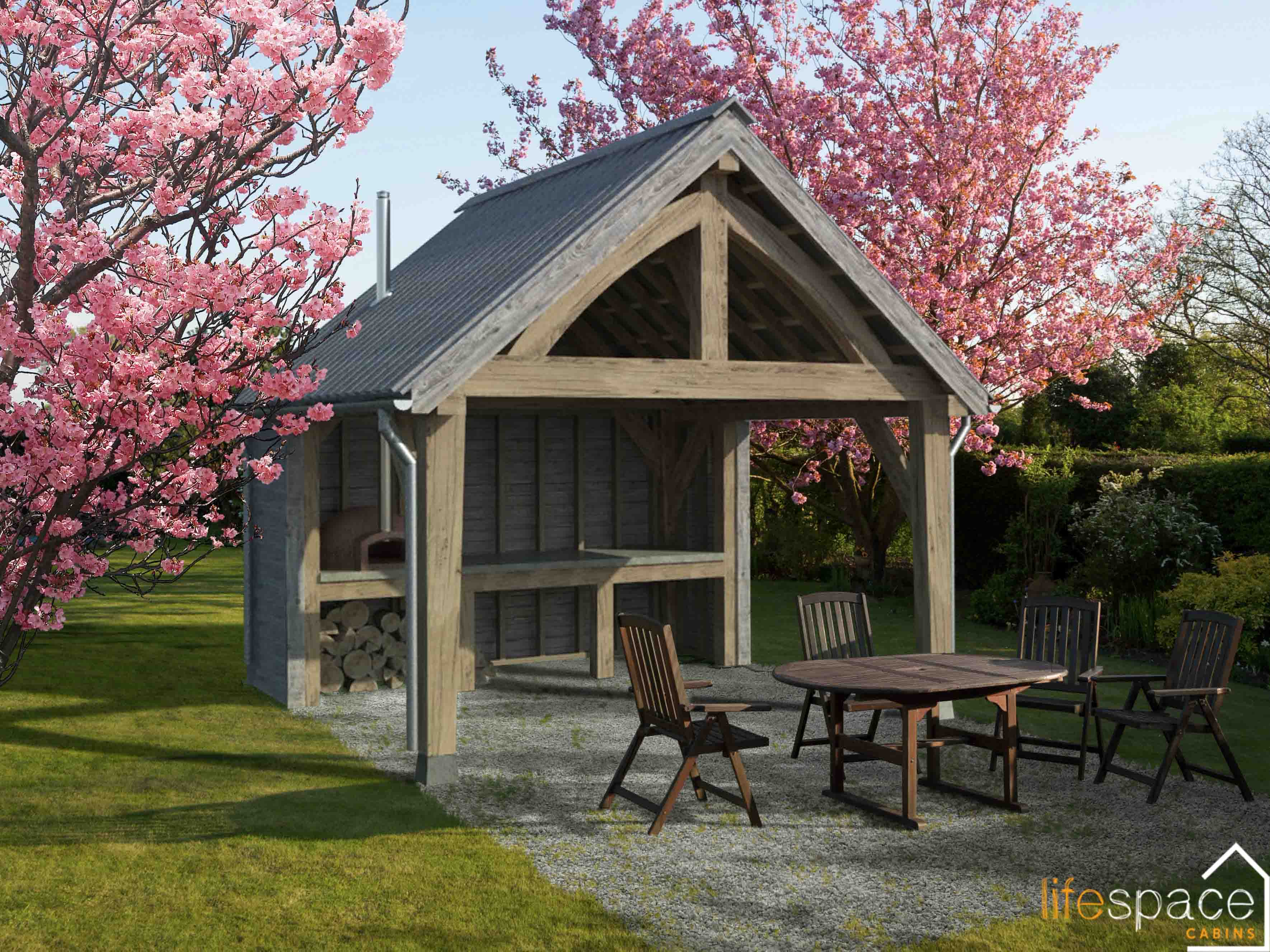 Alfresco Dining oak frame outdoor eating area in spring |Life Space Cabins