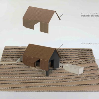 Cabin Story Part 3- The Cabin model showing corr ten roof