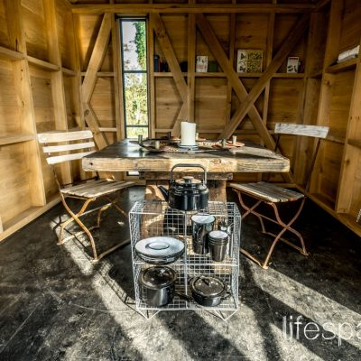 Luxury timber oak frame cabin interior |Life Space Cabins