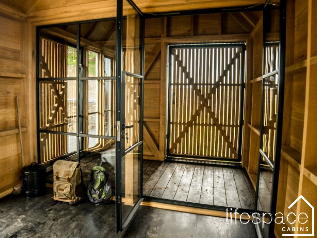 Luxury timber oak frame cabin interior with Crittall windows |Life Space Cabins