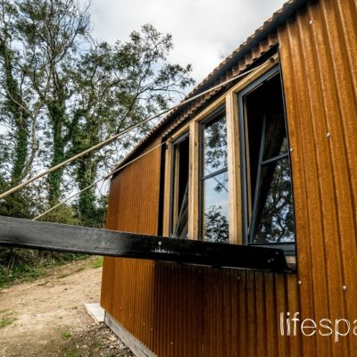 Luxury timber oak frame cabin with Cor ten sheets and bespoke drop down side |Life Space Cabins