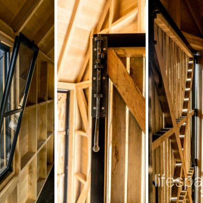 Luxury oak frame cabin with Crittall windows and bespoke ironmongery locks|Life Space Cabins