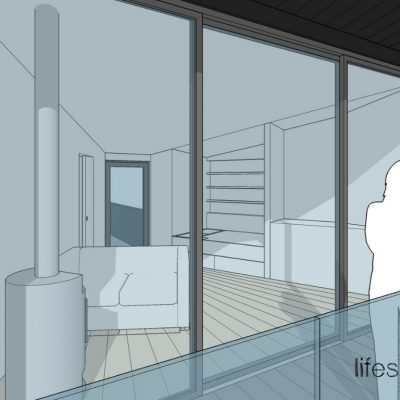 Luxury treehouse front windows showing internal and log burner| Life Space Cabins