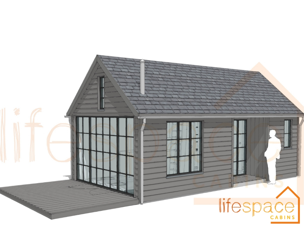 The Old School Family Cabin. Crittall style windows | Life Space Cabins