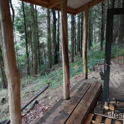 Woodland Foresters Cabin Veranda a place to come and sit with family | Life Space Cabins