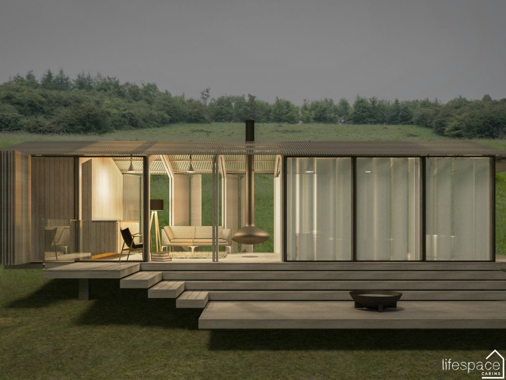 Evening retreat contemporary Luxury Cabin in Cotswolds with open sides and floating log burner | Life Space Cabins