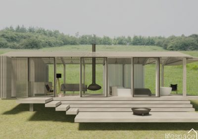 Contemporary Luxury Cabin with large glass panels and decking