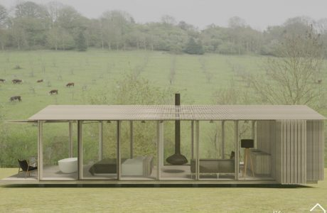 Contemporary Cabin in Cotswolds with bifold back door shutter sides and decking_ Life Space Cabins