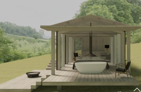 Luxury Cabin in Cotswolds with indoor outdoor bath sides or hot tub |Life Space Cabins