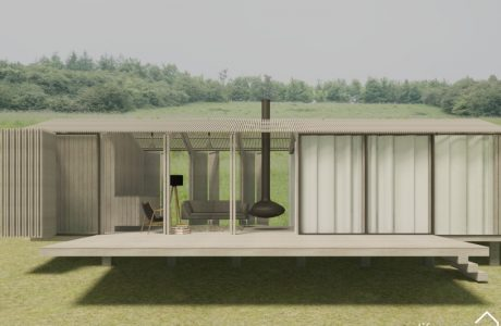 Luxury Cabin in Cotswolds with transparent slatted sides and floating log burner|Life Space Cabins