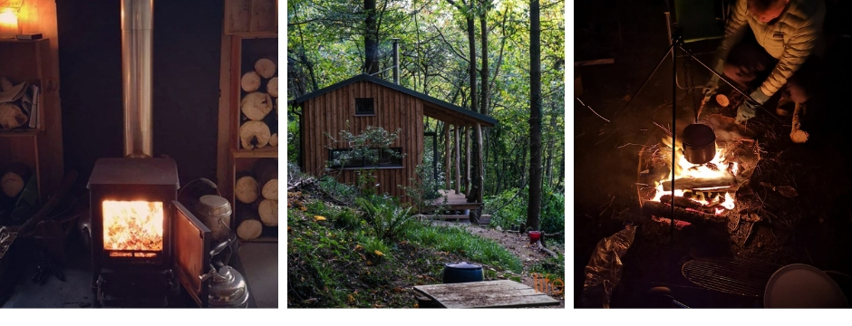 Woodland cabin with Hobbit woodburner, the cabin and cooking on an open fire|LIfe Space Cabins