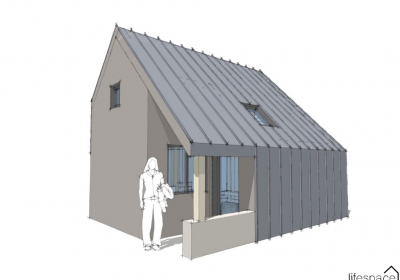 Asymmetrical roof pitch cabin