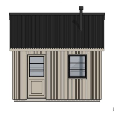 Camping Bedroom Cabin- Front elevation for glampsite or Campsite Larch vertical cladding and black zinc roof
