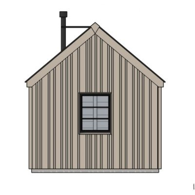 Camping Bedroom Cabin - end elevation showing log burner flue and vertical larch cladding | Life Space Cabins